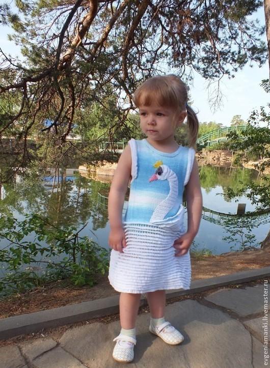 Одежда для девочек, ручной работы. Ярмарка Мастеров - ручная работа. Купить сарафан Царевна-Лебедь вязаный летний детский для девочки авторский. Handmade.