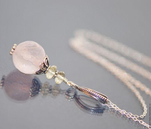 серебряный кулон; кулон с розовым кварцем; розовый кулон; подарок на Новый год; подарок маме; подарок жене; подарок подруге