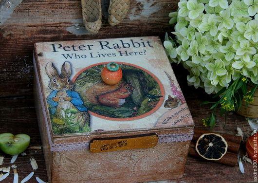 """Корзины, коробы ручной работы. Ярмарка Мастеров - ручная работа. Купить """"Кролик Питер"""" чайный короб. Handmade. Разноцветный"""