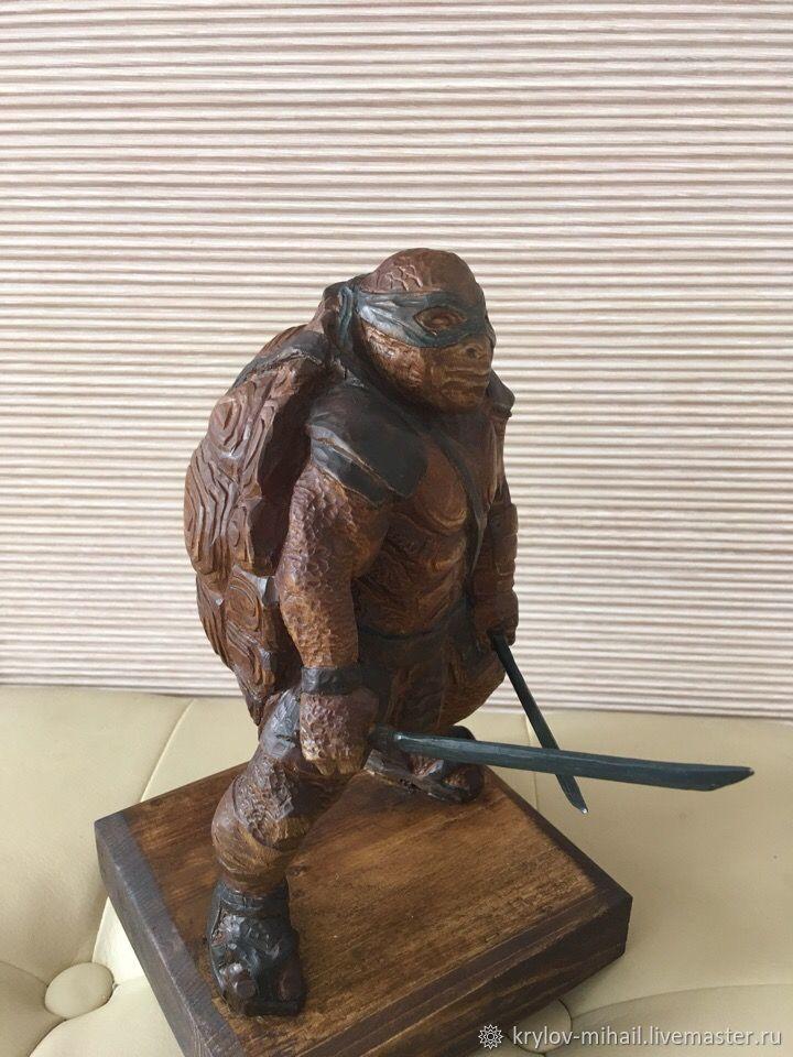 Statuette:made of wood ninja turtle, Figurine, Kostroma,  Фото №1
