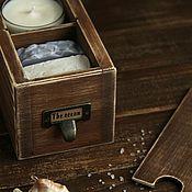"""Сувениры и подарки ручной работы. Ярмарка Мастеров - ручная работа Подарочный набор """"The ocean"""" (свеча и мыло). Handmade."""