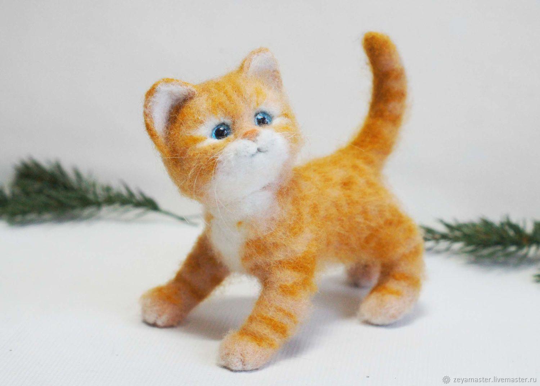 Котенок Рыжуля маленький. Валяная игрушка из шерсти, Игрушки, Зея, Фото №1