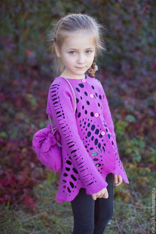 Одежда для девочек, ручной работы. Ярмарка Мастеров - ручная работа. Купить Валяный жакет Ажур. Handmade. Фуксия, валяный жакет