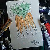 Открытки ручной работы. Ярмарка Мастеров - ручная работа Открытка Морковка.. Handmade.