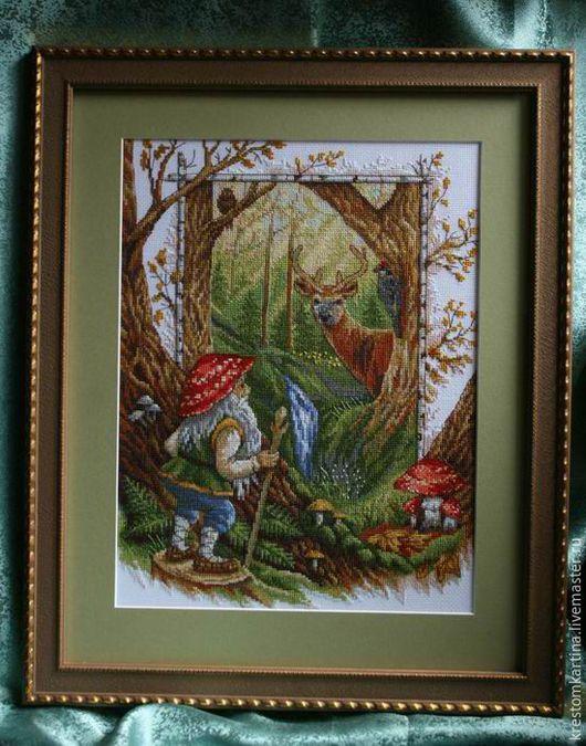 """Фэнтези ручной работы. Ярмарка Мастеров - ручная работа. Купить Вышитая картина""""В гостях у сказки"""". Handmade. Комбинированный, картина в подарок"""