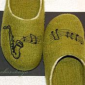 Обувь ручной работы. Ярмарка Мастеров - ручная работа Тапки «Саксофон». Handmade.