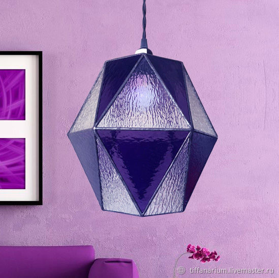 Hanging Geometric Purple Glass Lamp, Ceiling and pendant lights, Magnitogorsk,  Фото №1