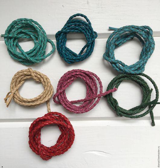 Для украшений ручной работы. Ярмарка Мастеров - ручная работа. Купить Кожаный плетеный шнур, круглый 4 мм. Handmade.