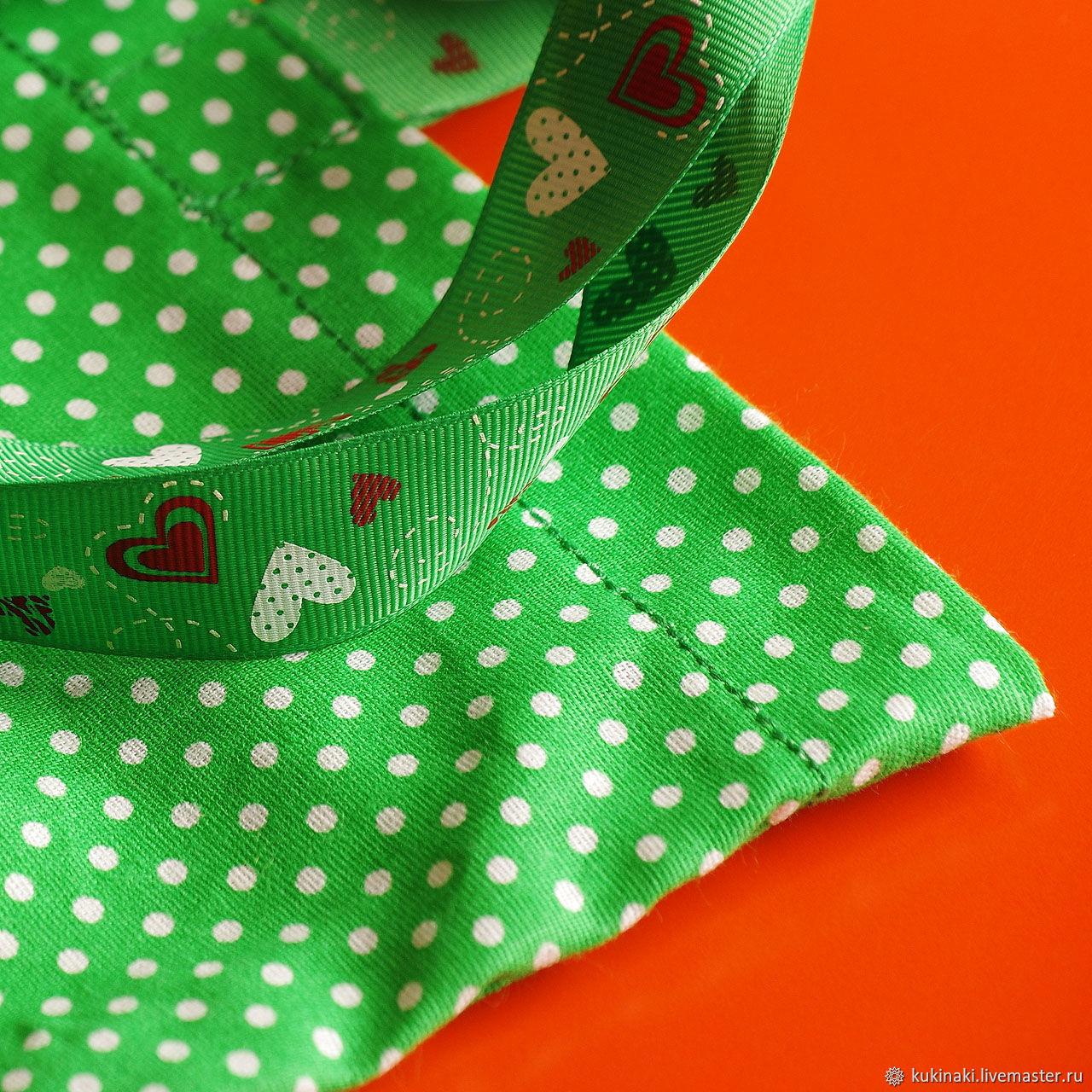 Экосумка в горошек зелёная