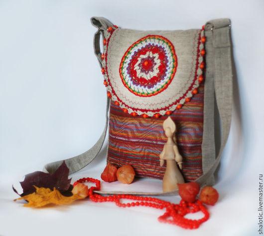 Льняная  бохо сумка, льняные сумки и рюкзаки ручной работы, автор Юлия Льняная сказка