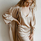 Одежда handmade. Livemaster - original item A set of a bathrobe and a shirt made of tencel in the color of coffee with milk. Handmade.