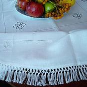 Для дома и интерьера ручной работы. Ярмарка Мастеров - ручная работа бахрома, плетение, Скатерть круглая льняная белая строчевая вышивка. Handmade.