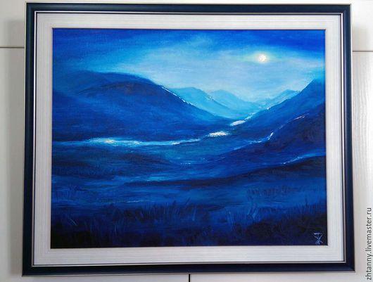 """Пейзаж ручной работы. Ярмарка Мастеров - ручная работа. Купить """"Полнолуние"""" картина маслом. Handmade. Тёмно-синий, горы"""