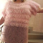 """Одежда ручной работы. Ярмарка Мастеров - ручная работа """"Розовый фламинго"""". Вязанная туника. Handmade."""