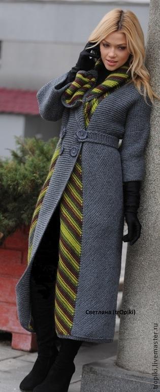 """Пиджаки, жакеты ручной работы. Ярмарка Мастеров - ручная работа. Купить Авторское пальто вязаное """"Шарм"""". Handmade. Серый"""