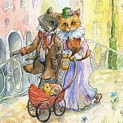 Для дома и интерьера handmade. Livemaster - original item Walk the Cat family Print painting Reproduction. Handmade.