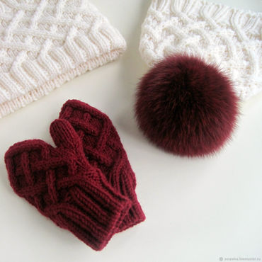 Works for children handmade. Livemaster - original item Children`s knitted hat, Snood and mittens