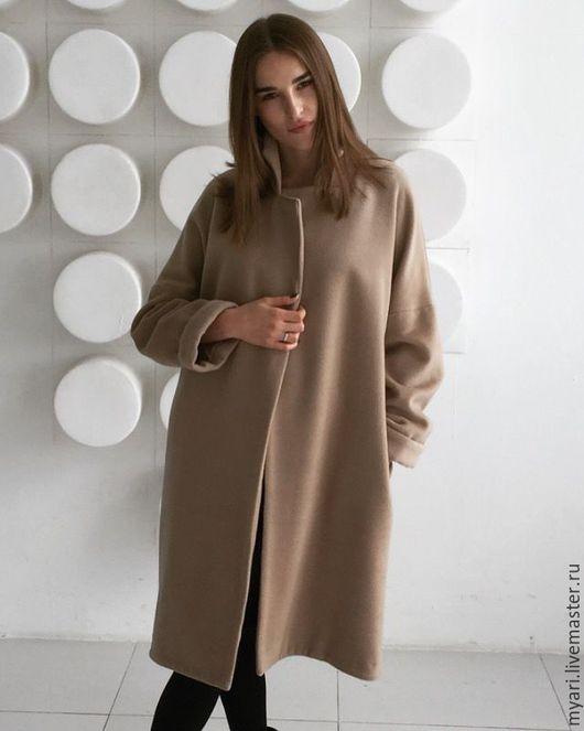 Верхняя одежда ручной работы. Ярмарка Мастеров - ручная работа. Купить Пальто свободного кроя. Handmade. Бежевый, пальто женское