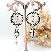 handmade. Livemaster - original item Classic earrings: Pearl circle. Handmade.