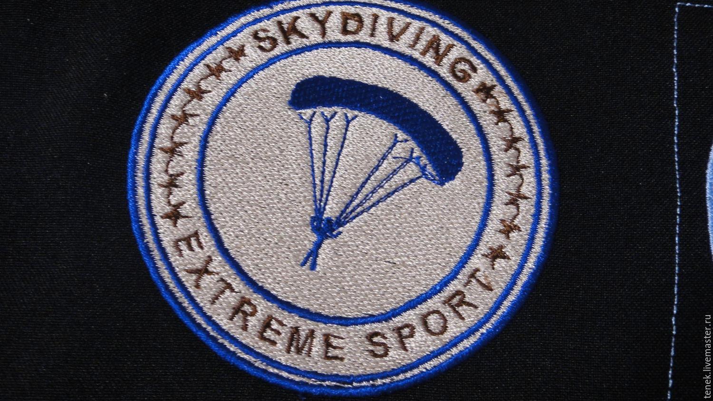 Нашивка патч Парашютный спорт эмблема Skydiving Подарок мужчине, Нашивки, Клин,  Фото №1