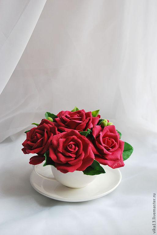 """Интерьерные композиции ручной работы. Ярмарка Мастеров - ручная работа. Купить Букетик """"Чашечка алых роз"""". Handmade. Ярко-красный"""
