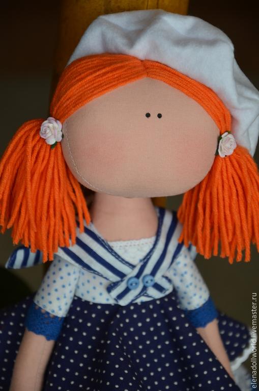 Куклы тыквоголовки ручной работы. Ярмарка Мастеров - ручная работа. Купить Тыквоголовка,,Юнга,,. Handmade. Синий, гюйс, рыжая девочка