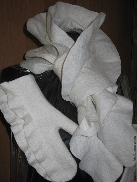 Комплекты аксессуаров ручной работы. Ярмарка Мастеров - ручная работа. Купить Валяный комплект аксесуаров. Handmade. Белый, шарф валяный