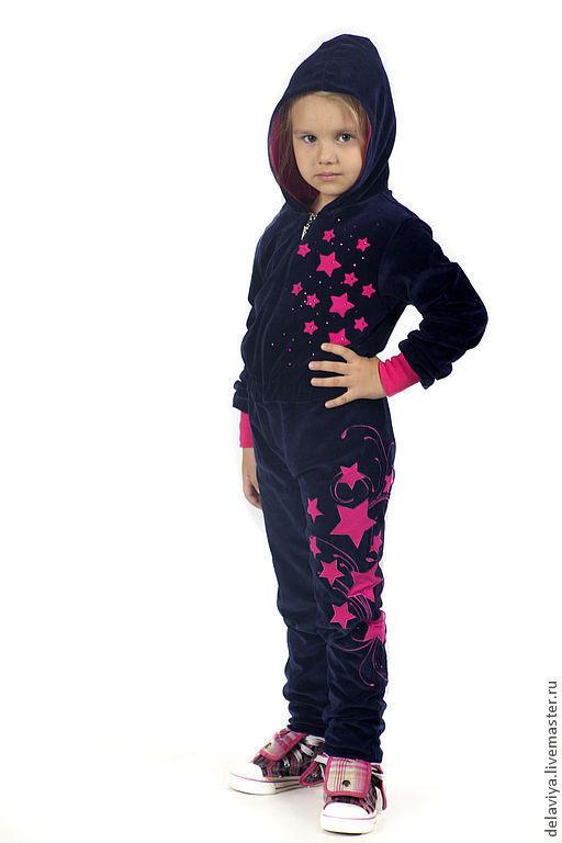 """Одежда для девочек, ручной работы. Ярмарка Мастеров - ручная работа. Купить Комбинезон """"Girl Star"""" от Делавьи. Handmade. Тёмно-синий"""