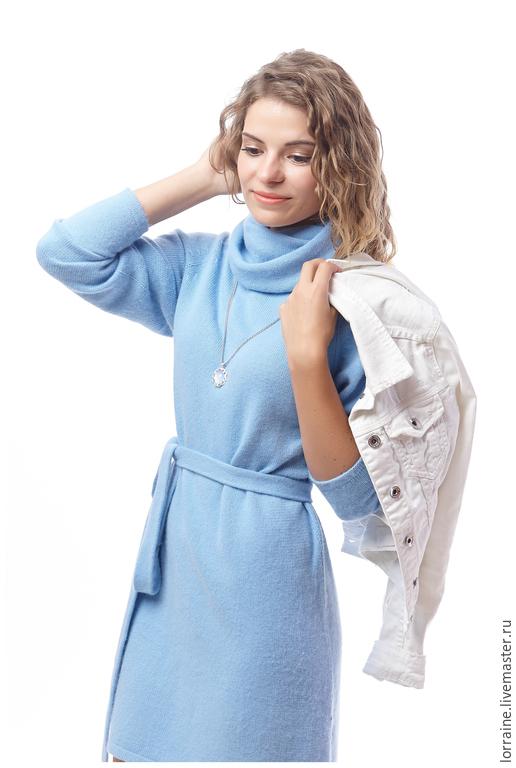 платье, вязаное платье, платье вязаное,  трикотажное, кашемировое платье, платье из кашемира, вязаное кашемировое платье, платье из 100% кашемира, платье теплое, голубое платье,платье в офис