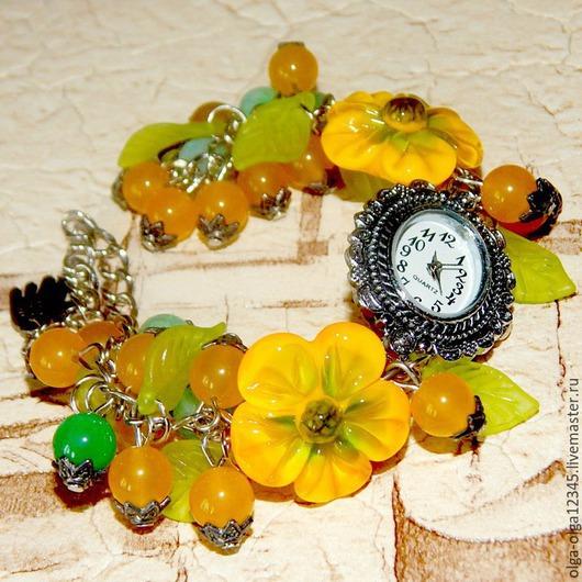 """Часы ручной работы. Ярмарка Мастеров - ручная работа. Купить Часы с браслетом """"Солнечные"""". Handmade. Серебряный, часы с браслетом"""
