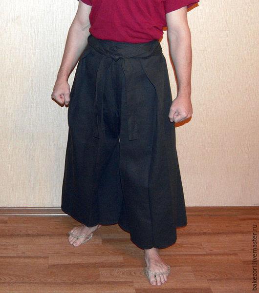 Этническая одежда ручной работы. Ярмарка Мастеров - ручная работа. Купить Хакама - японские брюки (эпоха Момояма). Handmade. Черный