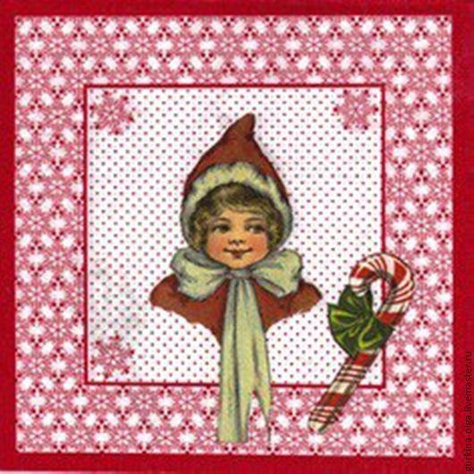 Декупаж и роспись ручной работы. Ярмарка Мастеров - ручная работа. Купить Салфетка Новогодняя девочка. Handmade. Комбинированный, салфетка для декупажа