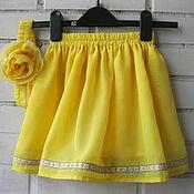 Работы для детей, ручной работы. Ярмарка Мастеров - ручная работа Желтая юбочка на маленькую принцессу + повязка на голову. Handmade.