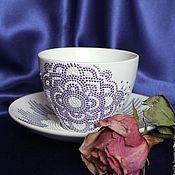 """Посуда ручной работы. Ярмарка Мастеров - ручная работа Подарок женщине. Чайная пара с росписью """"Фиолетовая роза"""". Handmade."""