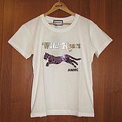 Винтаж handmade. Livemaster - original item White T-shirt of the Italian brand Animagemella, sequin T-shirt. Handmade.