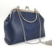 Сумки и аксессуары handmade. Livemaster - original item In stock! Leather bag dark blue on the clasp. Handmade.