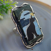 """Украшения handmade. Livemaster - original item Кольцо """"Кошка"""" - флорентийская мозаика, серебро. Handmade."""