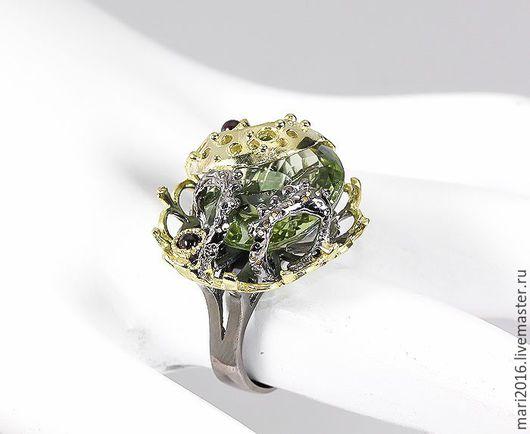 """Кольца ручной работы. Ярмарка Мастеров - ручная работа. Купить Красивое кольцо """" Тавелла"""" зеленый аметист; родолиты  в серебре 925 пр. Handmade."""