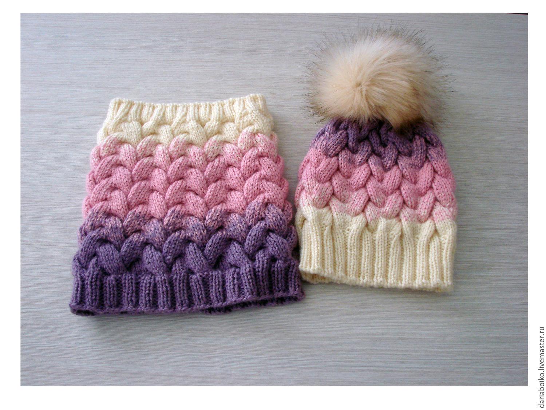 комплект вязаный шапка и снуд градиент купить в интернет магазине