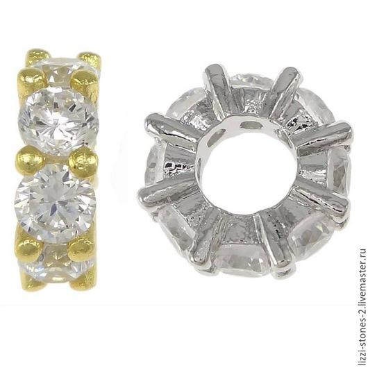 Бусина снежинка золото и серебро 11 мм  Евгения (Lizzi-stones-2)
