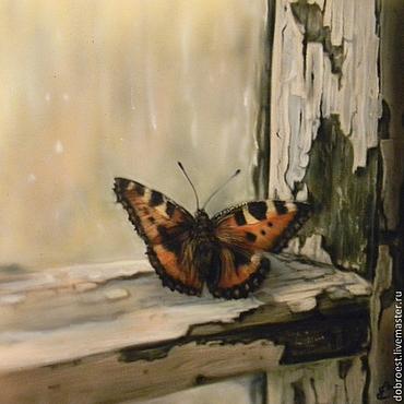 Картины и панно ручной работы. Ярмарка Мастеров - ручная работа Бабочка на окне.. Handmade.