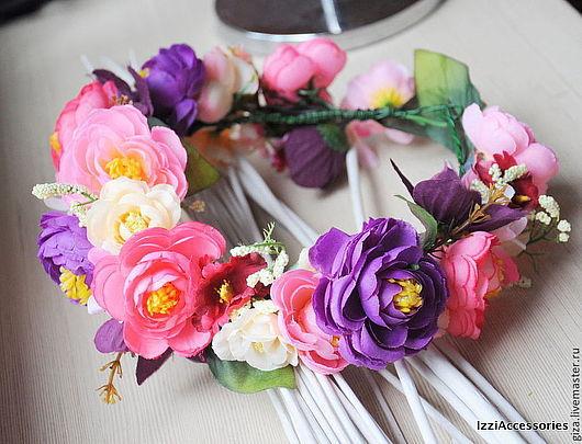"""Диадемы, обручи ручной работы. Ярмарка Мастеров - ручная работа. Купить Венок из цветов на голову """"Яркие цвета"""" для фотосессии. Handmade."""