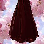 """Одежда ручной работы. Ярмарка Мастеров - ручная работа Шифоновая юбка в пол """"Бордовая ночь"""". Handmade."""