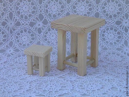 Кукольный дом ручной работы. Ярмарка Мастеров - ручная работа. Купить Табуретки. Handmade. Деревянная игрушка, дерево, белый