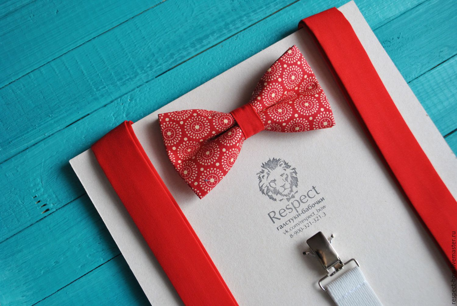 Set bow Tie red Retro circles red suspenders, Straps, Moscow,  Фото №1