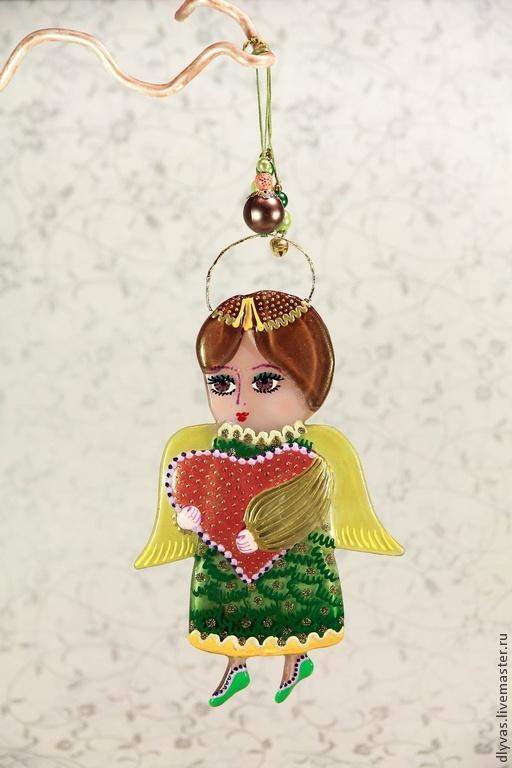 Подвески ручной работы. Ярмарка Мастеров - ручная работа. Купить Ангел с сердцем, стекло, роспись. Handmade. Ангел, Фьюзинг, зеленый