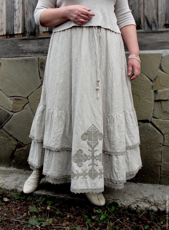 fd0349c902 Skirts handmade. Livemaster - handmade. Buy Skirt long Boho linen with  embroidery.