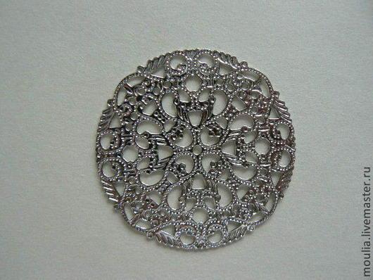 Декоративный элемент ажурный металлический  серебряный элемент d 4,5 Декоративный элемент ажурный металлический   7/0