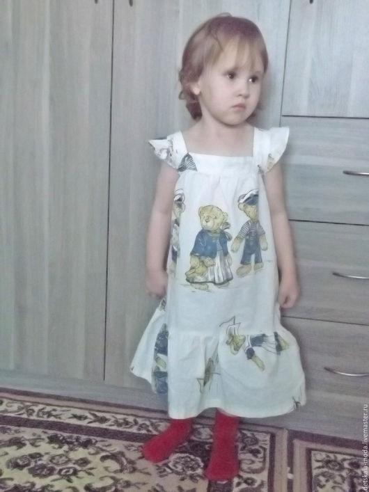 """Одежда для девочек, ручной работы. Ярмарка Мастеров - ручная работа. Купить Детское платье из хлопка """"Мишки моряки"""". Handmade. Рисунок"""