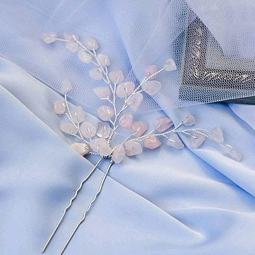 Свадебный салон ручной работы. Ярмарка Мастеров - ручная работа Свадебное украшение для волос / Шпилька / розовый кварц / для невесты. Handmade.